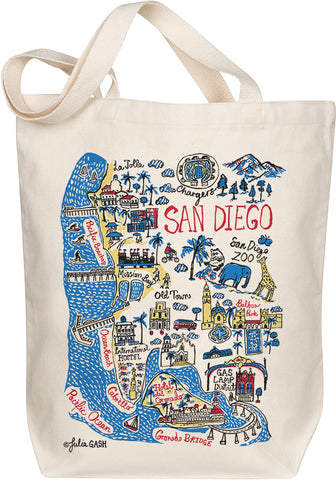 San Diego Boutique Map Art Tote