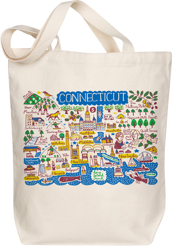 Connecticut Boutique Map Art Tote