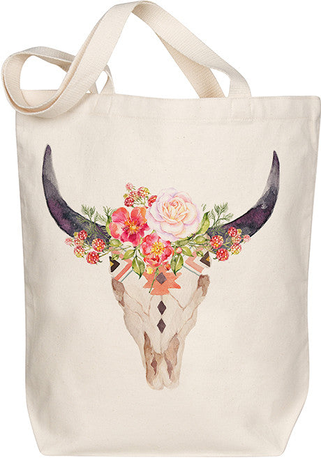 Floral Skull Tote