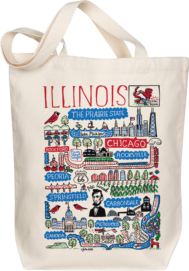 Illinois Boutique Map Art Tote