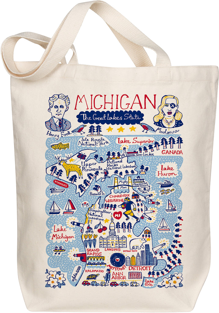 Michigan Boutique Map Art Tote