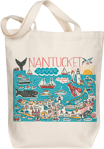 Nantucket Boutique Map Art Tote