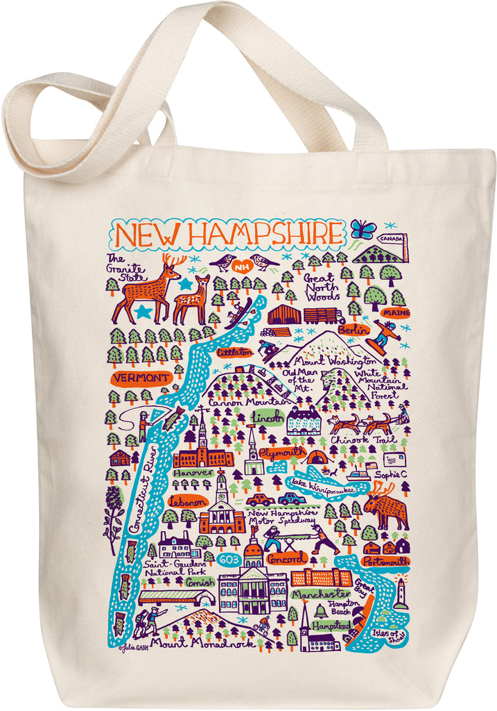 New Hampshire Boutique Map Art Tote