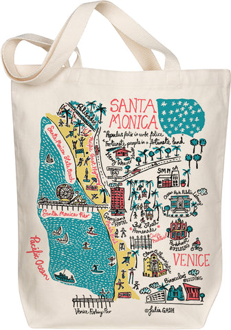 Santa Monica Boutique Map Art Tote