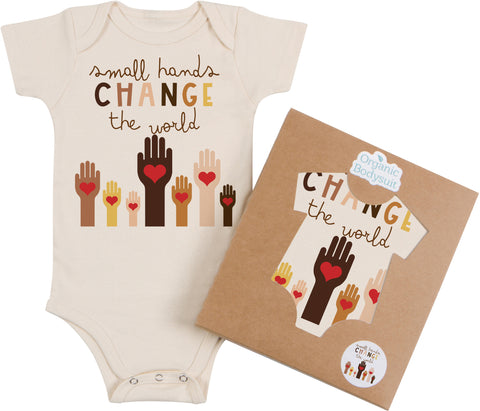 Small Hands Change the World Bodysuit & Tee