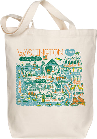 Washington Boutique Map Art Tote - Evergreen