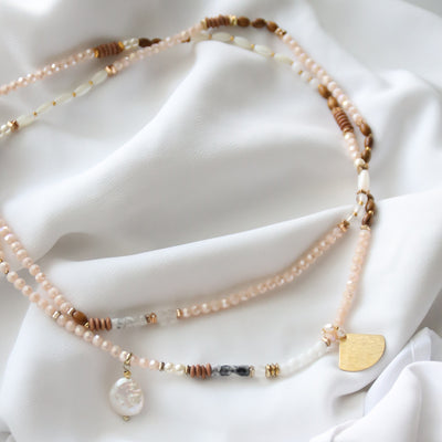 Nikki Wood Bead Necklace