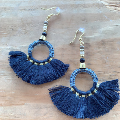 Nadya Navy Tassel Earrings