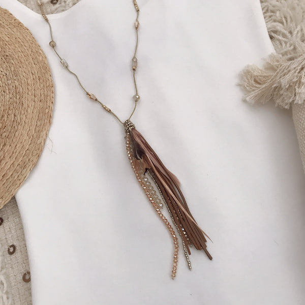 Becca Beaded Tassel Necklace