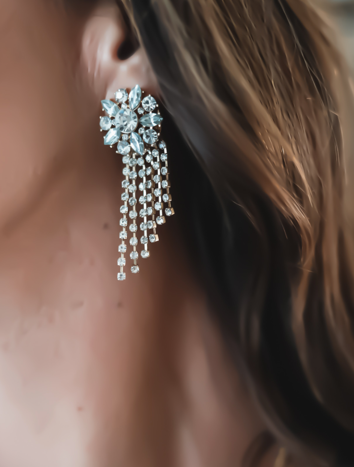 Tiered Flower Statement Earrings