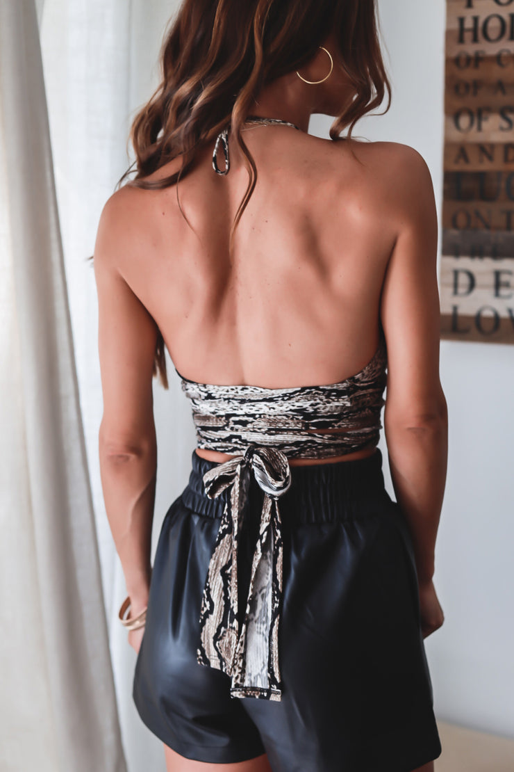The Valeria Snake Ruched Skirt