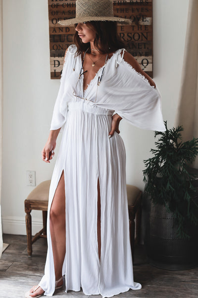 The Acacia Deep V Maxi - White