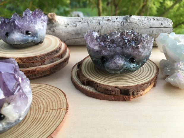 Amethyst Cluster Carved Hedgehog Pet