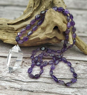 Crystal Pendant with Gemstone Bead Necklace - Amethyst