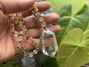 Crystal Pendant with Gemstone Bead Necklace - Citrine