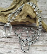 Crystal Pendant with Gemstone Bead Necklace - Clear Quartz