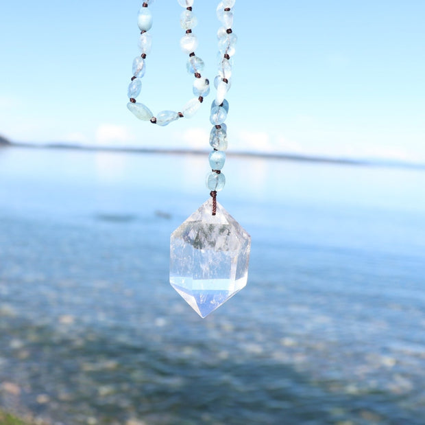 Crystal Pendant with Gemstone Bead Necklace