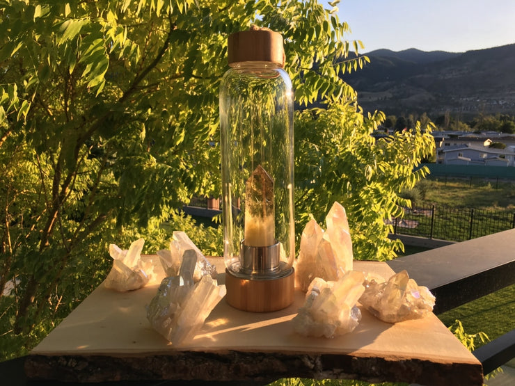 Crystal Wand Water Bottle + Protective Sleeve (Bamboo) - Citrine