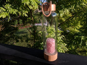 Gem Pod Water Bottle + Protective Sleeve (Bamboo) - Rose Quartz