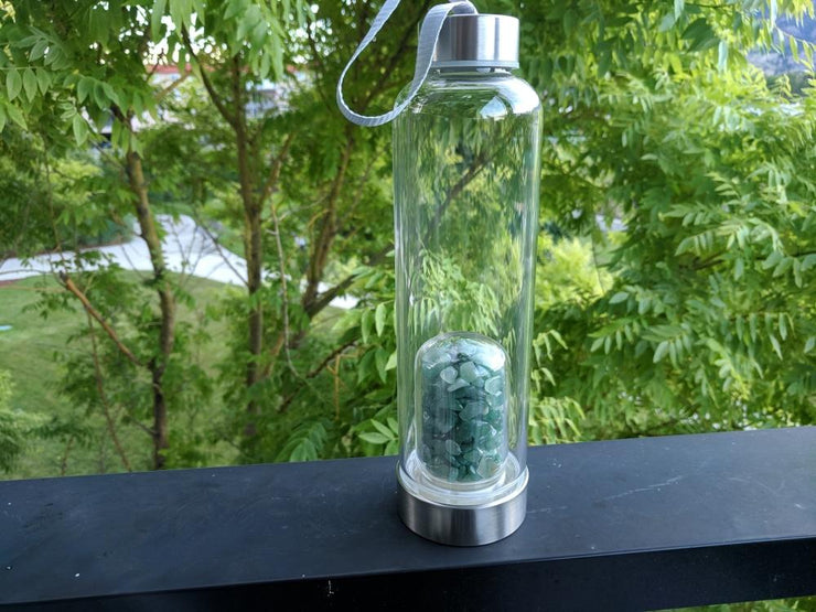 Gem Pod Water Bottle + Protective Sleeve (Stainless Steel) - Aventurine