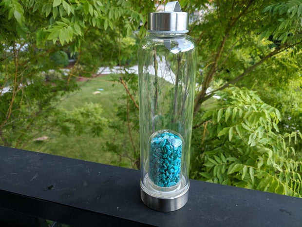 Gem Pod Water Bottle + Protective Sleeve (Stainless Steel) - Turquoise