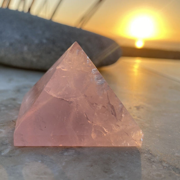 Rose Quartz Pyramid (Size: Medium) - pyramids