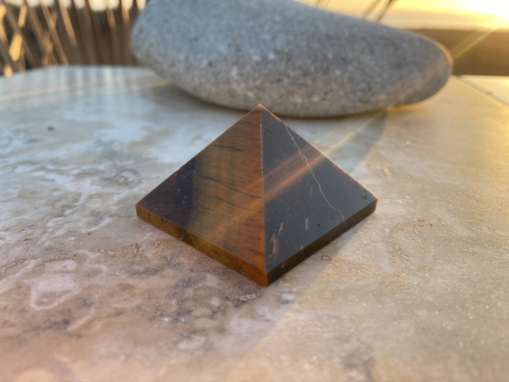 Tiger's Eye Pyramid (Size: Medium) - pyramids
