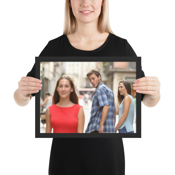 Distracted Boyfriend Framed Poster shopyourmeme Black 12×16