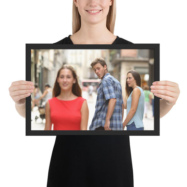 Distracted Boyfriend Framed Poster shopyourmeme Black 12×18