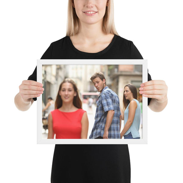 Distracted Boyfriend Framed Poster shopyourmeme White 12×16