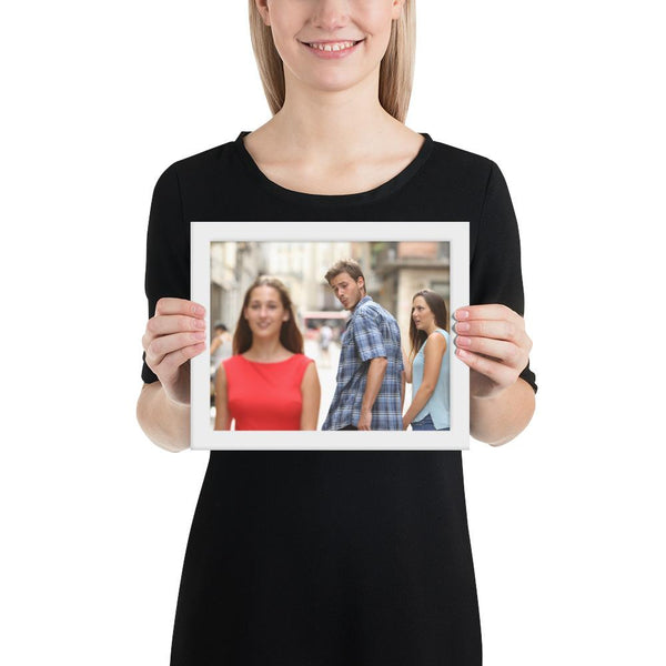 Distracted Boyfriend Framed Poster shopyourmeme White 8×10