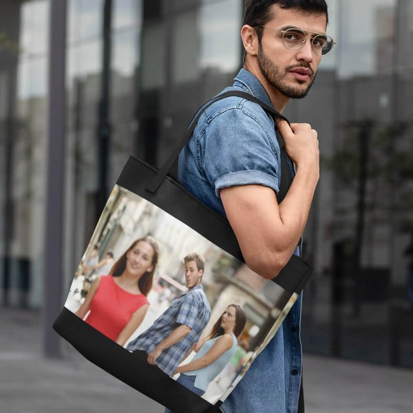Distracted Boyfriend Tote Bag shopyourmeme Black