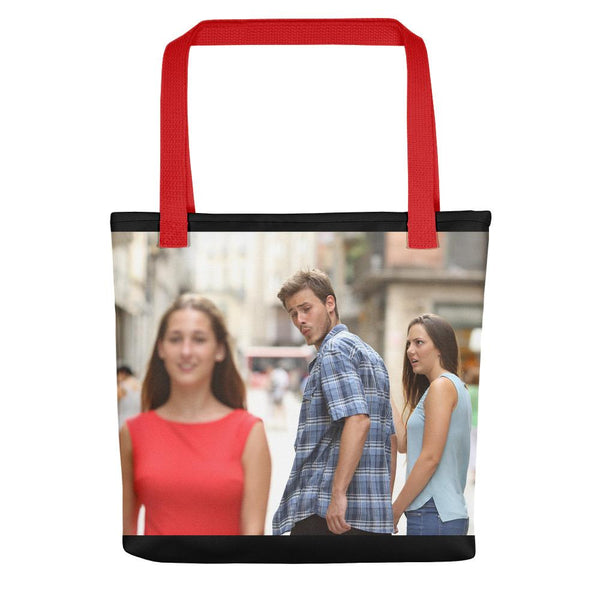 Distracted Boyfriend Tote Bag shopyourmeme Red