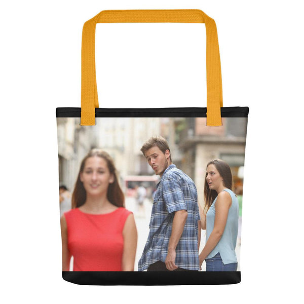 Distracted Boyfriend Tote Bag shopyourmeme Yellow