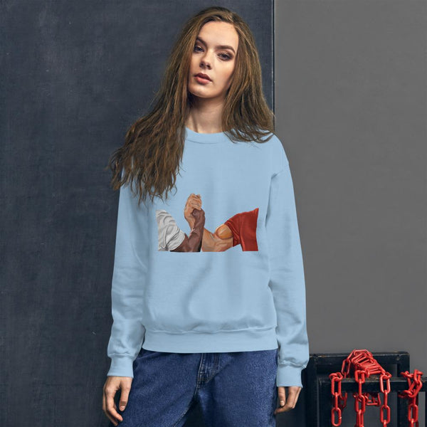 Epic Handshake Sweatshirt shopyourmeme Light Blue S