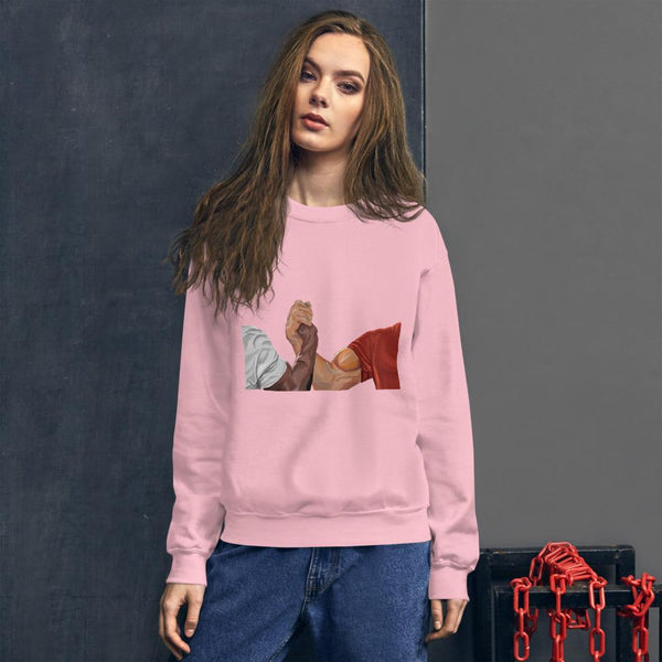 Epic Handshake Sweatshirt shopyourmeme Light Pink S