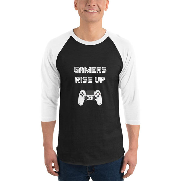 Gamers Rise Up 3/4 Sleeve Raglan Shirt shopyourmeme Black/White S