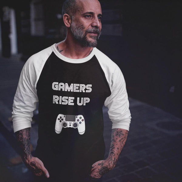 Gamers Rise Up 3/4 Sleeve Raglan Shirt shopyourmeme Black/White XS