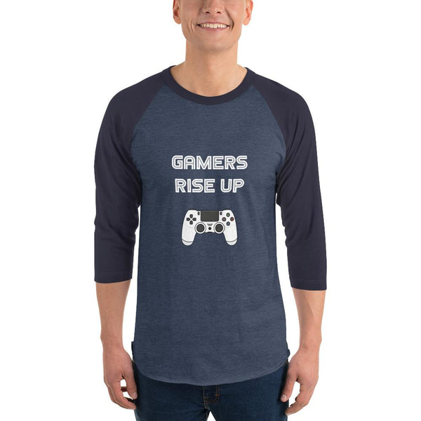 Gamers Rise Up 3/4 Sleeve Raglan Shirt shopyourmeme Heather Denim/Navy XS
