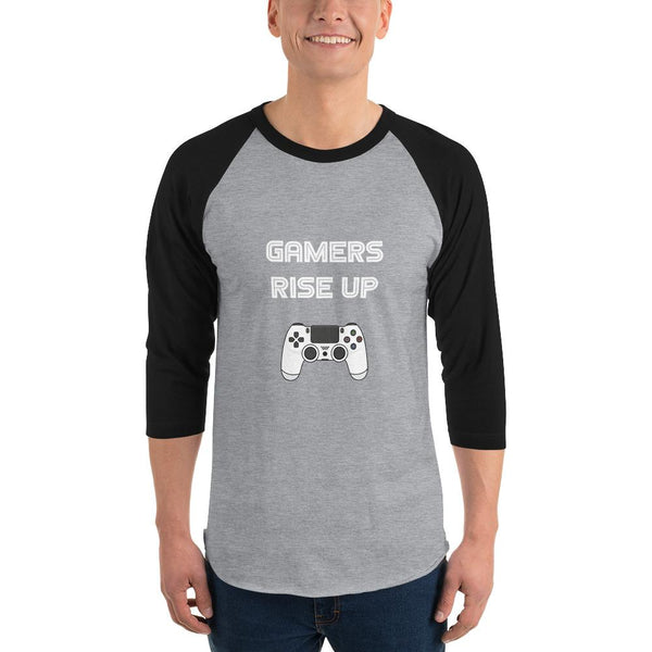 Gamers Rise Up 3/4 Sleeve Raglan Shirt shopyourmeme Heather Grey/Black XS