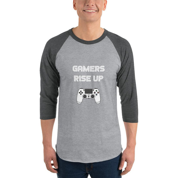 Gamers Rise Up 3/4 Sleeve Raglan Shirt shopyourmeme Heather Grey/Heather Charcoal XS