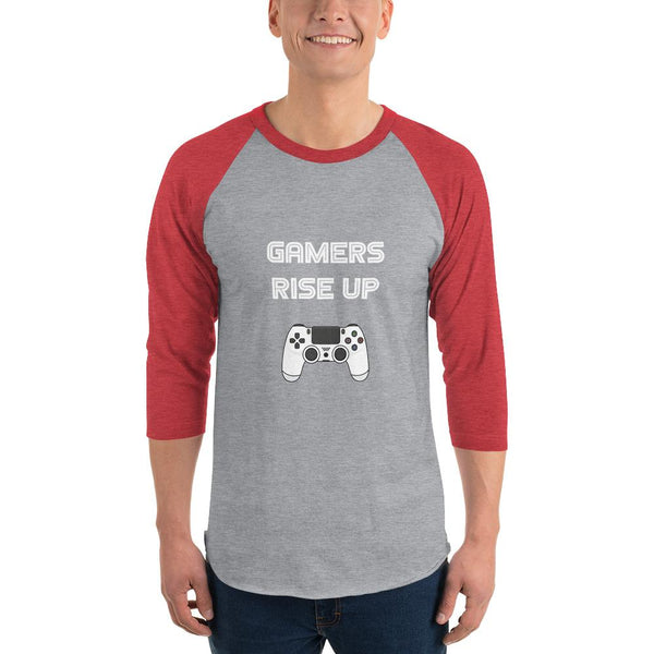 Gamers Rise Up 3/4 Sleeve Raglan Shirt shopyourmeme Heather Grey/Heather Red XS