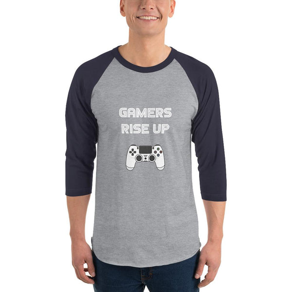 Gamers Rise Up 3/4 Sleeve Raglan Shirt shopyourmeme Heather Grey/Navy XS