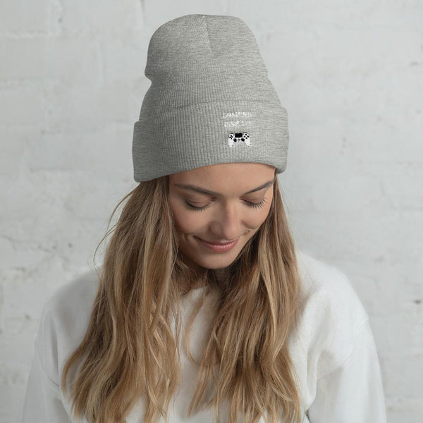 Gamers Rise Up Cuffed Beanie shopyourmeme Heather Grey