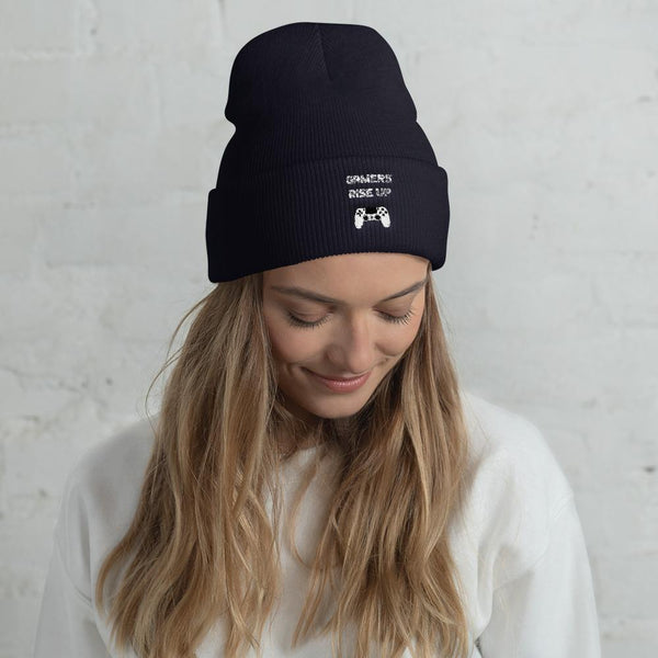 Gamers Rise Up Cuffed Beanie shopyourmeme Navy