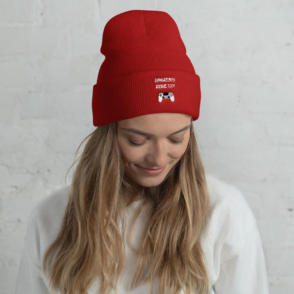 Gamers Rise Up Cuffed Beanie shopyourmeme Red