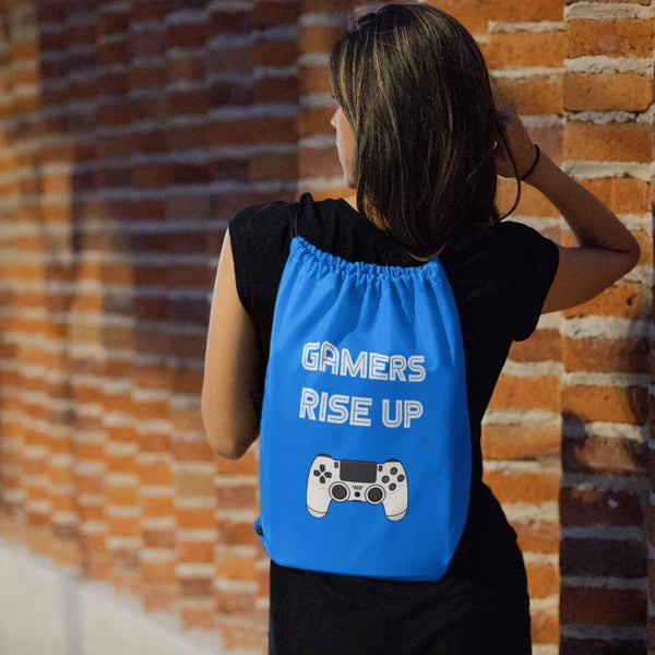 Gamers Rise Up Drawstring Bag shopyourmeme