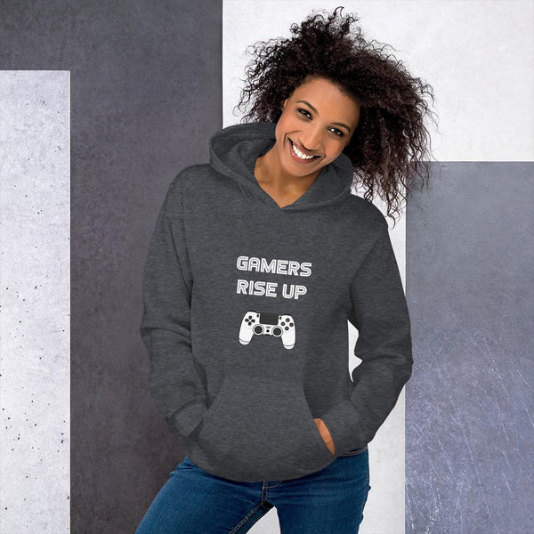 Gamers Rise Up Hoodie shopyourmeme Dark Heather S