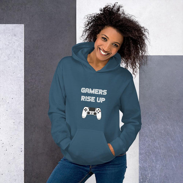 Gamers Rise Up Hoodie shopyourmeme Indigo Blue S