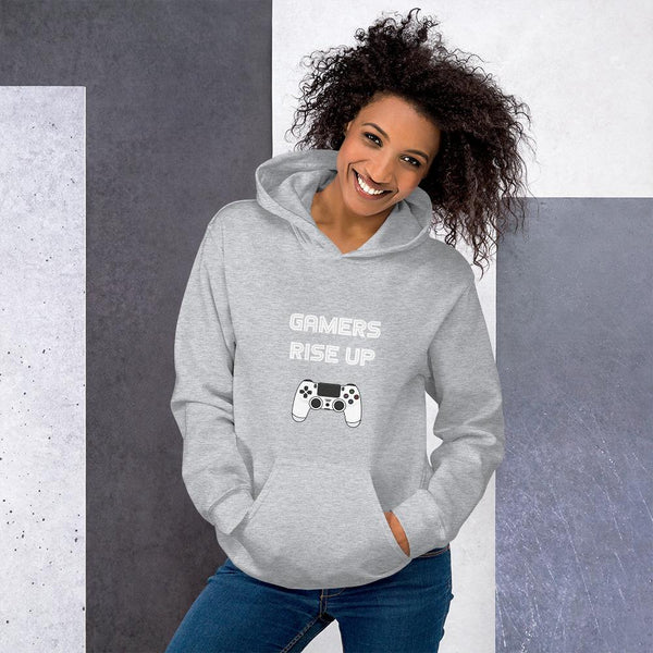 Gamers Rise Up Hoodie shopyourmeme Sport Grey S